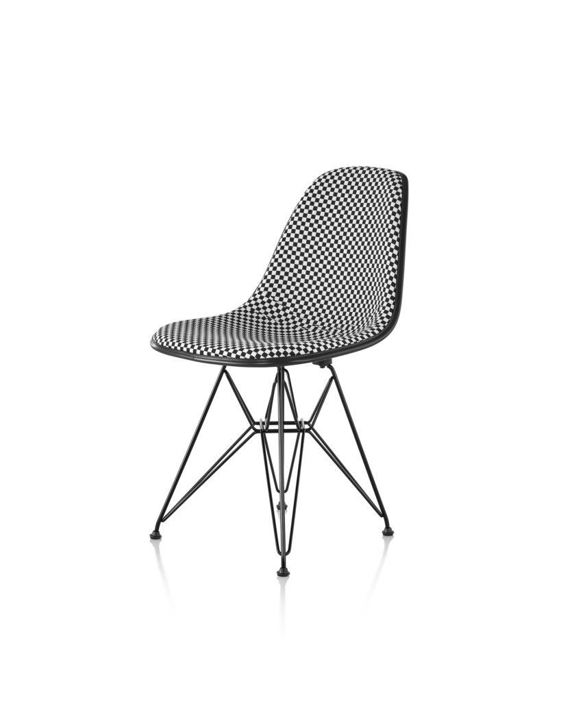 Eames 金属底座正面软包玻璃纤维单椅