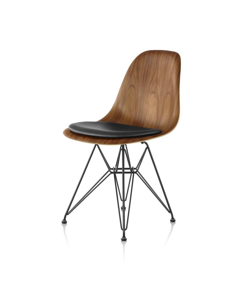 Eames 金属底座带软包坐垫木壳单椅